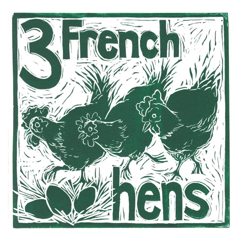 Three French Hens Greetings Card lino cut by Kate Guy