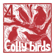 Load image into Gallery viewer, Four Colly Birds Greetings Card lino cut by Kate Guy
