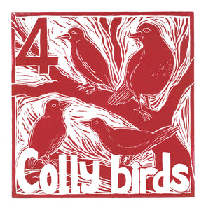 Four Colly Birds Greetings Card lino cut by Kate Guy