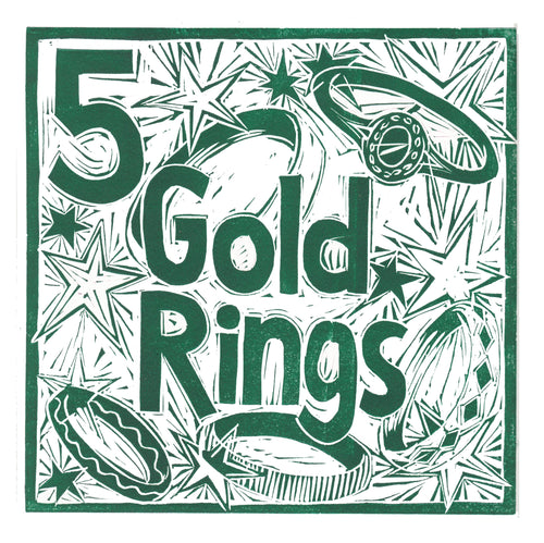 Five Gold Rings Greetings Card lino cut by Kate Guy