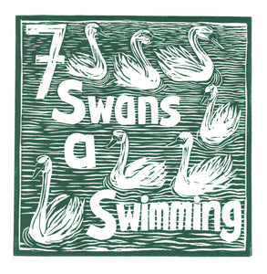 Seven Swans a Swimming Greetings Card lino cut by Kate Guy