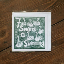 Load image into Gallery viewer, Seven Swans a Swimming Greetings Card lino cut by Kate Guy