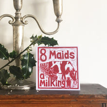 Load image into Gallery viewer, Eight Maids a Milking Greetings Card lino cut by Kate Guy