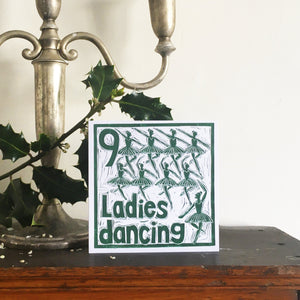 Nine Ladies Dancing Greetings Card lino cut by Kate Guy