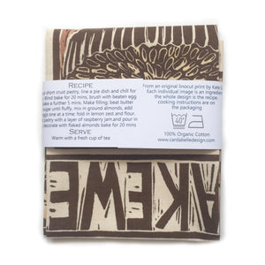 Bakewell Tart Illustrated Recipe tea towel Lino cut by Kate Guy