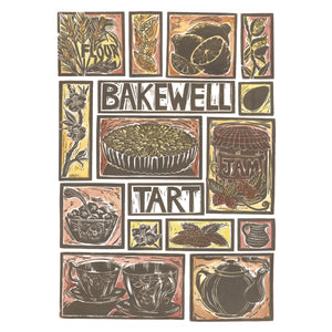Bakewell Tart illustrated recipe greetings card. Lino cut print by Kate Guy, cooking instructions are on the back.