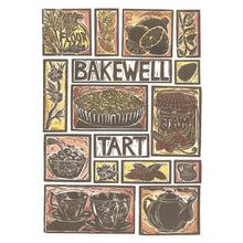 Load image into Gallery viewer, Kate Guy Prints Bakewell Tart Illustrated recipe Linocut greetings card