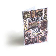 Load image into Gallery viewer, Bakewell Tart illustrated recipe greetings card. Lino cut print by Kate Guy, cooking instructions are on the back.