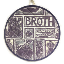 Load image into Gallery viewer, Scotch Broth Linocut Print on Cooker Hob Cover by Kate Guy Prints Last One SALE