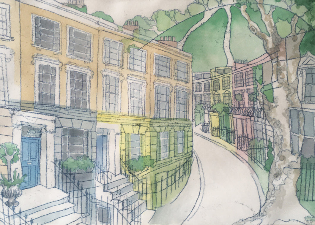 Chalcot Crescent and View of Primrose Hill Monotype Print
