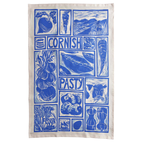 Cornish Pasty illustrated recipe tea towel Lino cut print by Kate Guy, cooking instructions are on the packaging