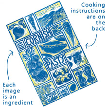 Load image into Gallery viewer, Cornish Pasty illustrated recipe greetings card. Lino cut print by Kate Guy, cooking instructions are on the back.