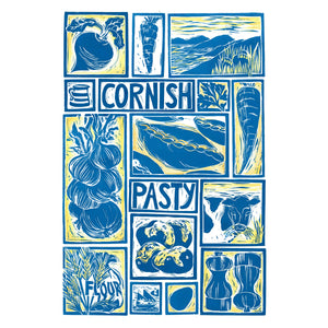 Cornish Pasty illustrated recipe greetings card. Lino cut print by Kate Guy, cooking instructions are on the back.