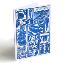 Load image into Gallery viewer, Cornish Pasty illustrated recipe greetings card. Lino cut print by Kate Guy, each image is an ingredient cooking instructions are on the back.