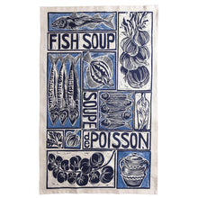 Load image into Gallery viewer, Fish Soup illustrated recipe tea towel with cooking instructions on the pack. Original lino cut print by Kate Guy
