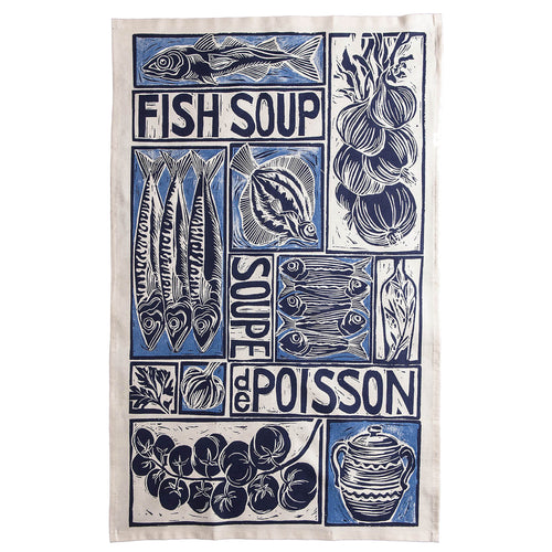 Fish Soup illustrated recipe organic cotton tea towel with cooking instructions on the pack. Original lino cut print by Kate Guy