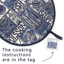 Load image into Gallery viewer, Fish Soup illustrated recipe cooker hob cover comes with cooking instructions