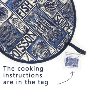 Fish Soup illustrated recipe cooker hob cover comes with cooking instructions