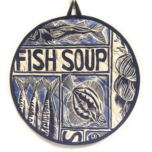 Fish Soup Linocut Print on Cooker Hob Cover by Kate Guy Prints Last One SALE