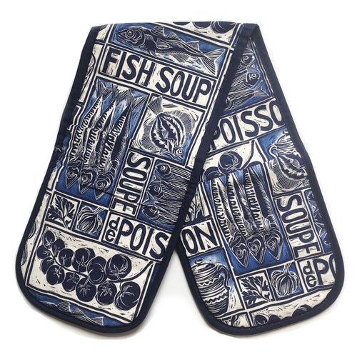 Fish Soup illustrated recipe double oven glove, comes with cooking instructions. lino cut print by Kate Guy