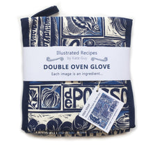 Load image into Gallery viewer, Fish Soup illustrated recipe double oven glove, comes with cooking instructions. lino cut print by Kate Guy