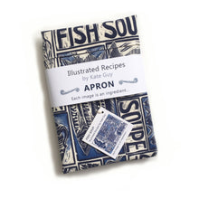 Load image into Gallery viewer, Fish Soup illustrated recipe adult apron with large pocket, comes with cooking instructions. lino cut print by Kate Guy