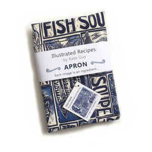 Fish Soup illustrated recipe adult apron with large pocket, comes with cooking instructions. lino cut print by Kate Guy