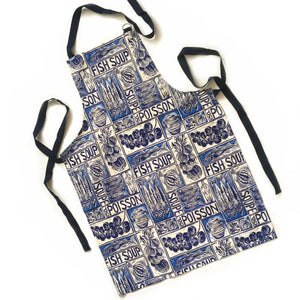 Fish Soup illustrated recipe gift set with tea towel adult apron and double oven glove with large pocket, comes with cooking instructions. lino cut print by Kate Guy