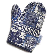 Load image into Gallery viewer, Fish Soup illustrated recipe oven glove, comes with cooking instructions. lino cut print by Kate Guy