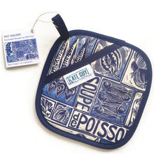Load image into Gallery viewer, Fish Soup illustrated recipe pot holder, comes with cooking instructions. lino cut print by Kate Guy