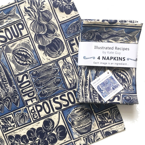 Fish soup illustrated recipe napkins, set of four organic cotton, print by Kate Guy