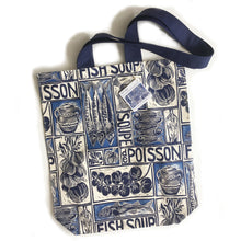 Load image into Gallery viewer, Fish Soup illustrated recipe long handled tote bag, comes with cooking instructions. lino cut print by Kate Guy