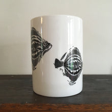 Load image into Gallery viewer, Porcelain fish mugs lino cut designs by Kate Guy