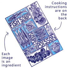 Load image into Gallery viewer, Fish Soup illustrated recipe greetings card with cooking instructions on the back. Original lino cut print by Kate Guy