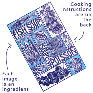 Fish Soup illustrated recipe greetings card with cooking instructions on the back. Original lino cut print by Kate Guy