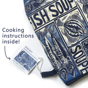 Fish Soup illustrated recipe oven glove, comes with cooking instructions. lino cut print by Kate Guy