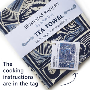 Fish Soup illustrated recipe tea towel with cooking instructions on the pack. Original lino cut print by Kate Guy