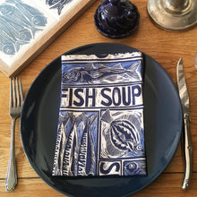 Load image into Gallery viewer, Fish soup napkin, illustrated recipe lino cut by Kate Guy