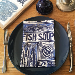 Fish soup napkin, illustrated recipe lino cut by Kate Guy
