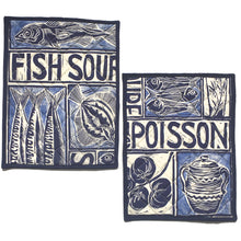 Load image into Gallery viewer, Illustrated recipe fish soup cooker hob cover lino cut by Kate Guy
