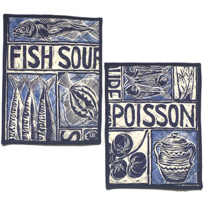 Illustrated recipe fish soup cooker hob cover lino cut by Kate Guy