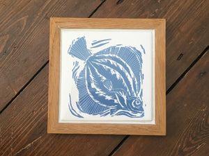 Plaice handmade framed tile trivet lino cut by Kate Guy in PALE blue
