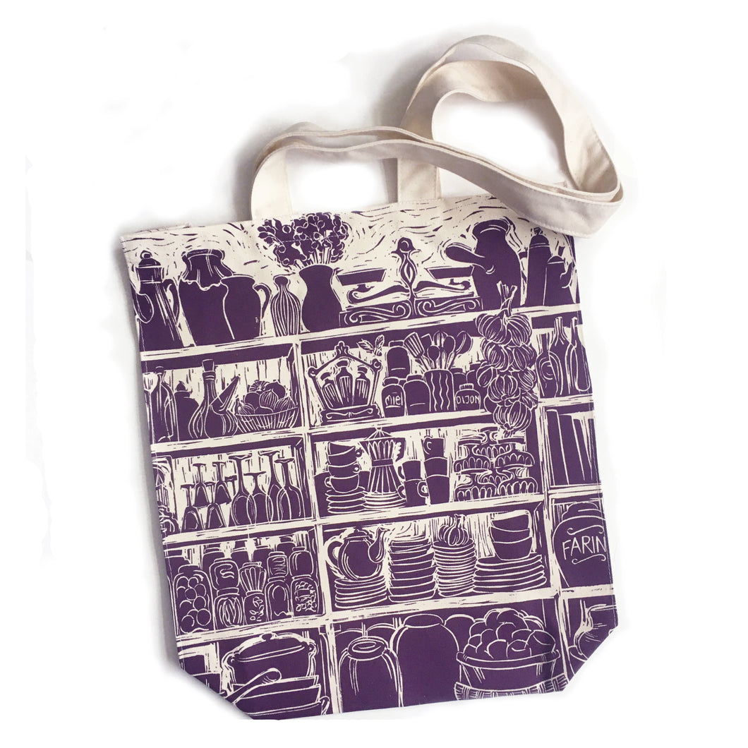 French Country Kitchen lino cut long handled tote bag by Kate Guy