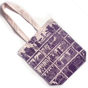 French Onion Soup illustrated recipe long handled tote bag lino cut by Kate Guy