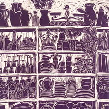 Load image into Gallery viewer, French Onion Soup illustrated recipe long handled tote bag lino cut by Kate Guy