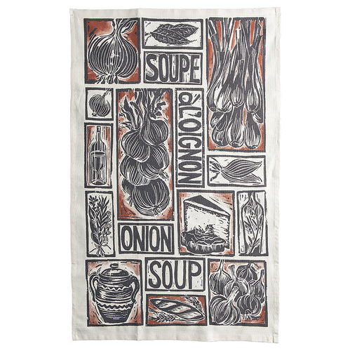 French Onion Soup illustrated recipe organic cotton tea towel lino cut by Kate Guy
