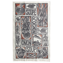 Load image into Gallery viewer, French Onion Soup illustrated recipe gift set organic cotton tea towel apron double oven glove lino cut by Kate Guy
