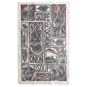 French Onion Soup illustrated recipe gift set organic cotton tea towel apron double oven glove lino cut by Kate Guy