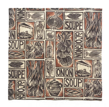Load image into Gallery viewer, Set Six Illustrated Soup Recipe Napkins; Fish, Onion and Tomato Soup linocuts on organic cotton by Kate Guy Prints