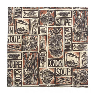 Set Six Illustrated Soup Recipe Napkins; Fish, Onion and Tomato Soup linocuts on organic cotton by Kate Guy Prints